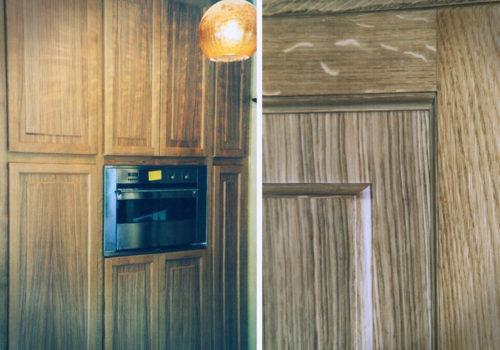 Cucina in rovere naturale con bugne