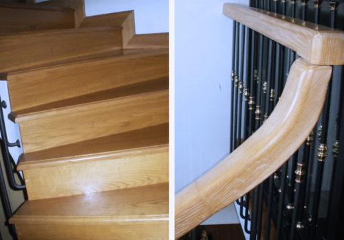 Scala interna con gradini in rovere massello e sottogrado e corrimano rotondo eseguiti sul posto, verniciata al naturale