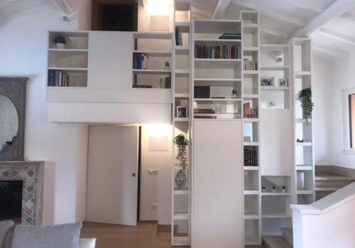 Libreria Laccata Bianco Opaco Con Doppia Faccia e Vetri Trasparenti Ultrachiaro